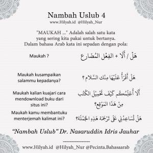 Uslub Muhawaroh, masih Tahap Mengkonsep Materi Belajar Bahasa Arab Dr Nasruddin Idris Jauhar